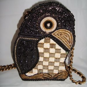 Vintage Embellished Box Purse Penguin Beaded